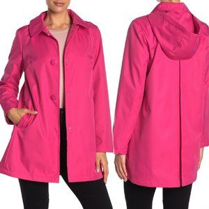 Kate Spade Electric Pink Hooded Raincoat Size M